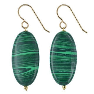 Ashanti Malachite Gemstone 14K Gold Filled Handmade Earrings