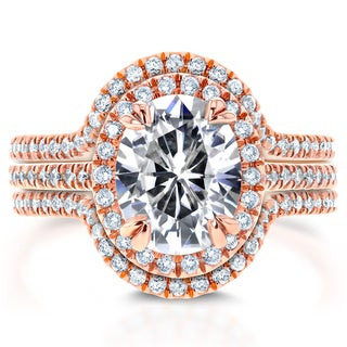 Annello 14k Rose Gold Oval Moissanite and 3/4ct TDW Diamond Halo 3-Piece Bridal Rings Set (G-H, I1-I2)