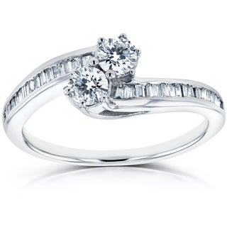 Annello Two 14k White Gold 1/2ct TDW Round and Baguette Diamond Two-Stone Curved Ring (H-I, I2)