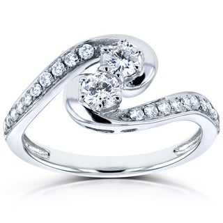 Annello Two 14k White Gold 1/2ct TDW Diamond Two-Stone Swirl Curved Ring (H-I, I1-I2)