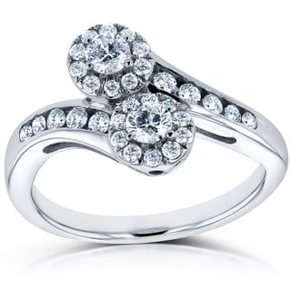 Annello Two 14k White Gold 1/2ct TDW Diamond Two-Stone Curved Ring (H-I, I1-I2)