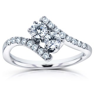 Annello Two 14k White Gold 1/2ct TDW Diamond Two-Stone Prong Set Curved Ring (H-I, I1-I2)