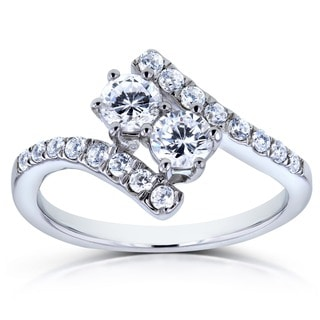 Annello Two Collection 14k White Gold 1ct TDW Diamond 2-stone Curved Ring (H-I, I1-I2)