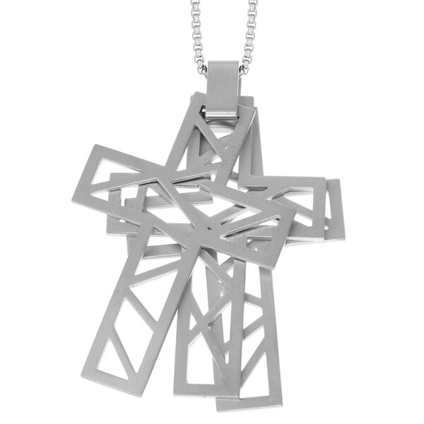 Stainless Steel Men's Triple Layer Cut-out Cross Pendant Necklace