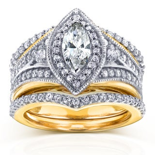 Annello 14k Two Tone Gold Marquise 1 1/3ct TDW Diamond Art Deco 3-Piece Chevron Bridal Set (H-I, I1-I2)