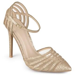 Journee Collection Women's 'Fancy' Ankle Strap Mesh Pumps