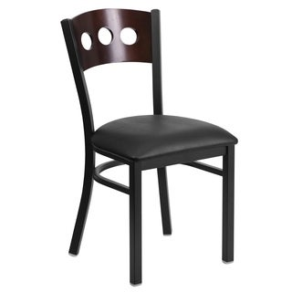 HERCULES Series Decorative 3 Circle Back Metal Restaurant Chair - Walnut Wood Back, Vinyl Seat
