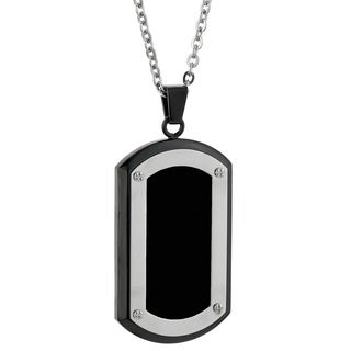 Men's Stainless Steel Black Ion Plated Tag Pendant Necklace