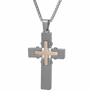 Rose-tone Stainless Steel Men's Cross Pendant Necklace