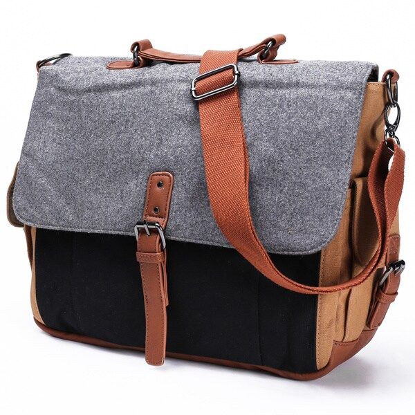 Something Strong Grey Canvas Tablet Messenger Bag