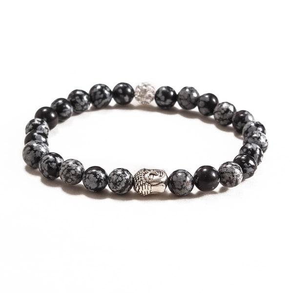 Something Strong Men's 8mm Zinc Alloy Snowflake Stone Buddha Bracelet