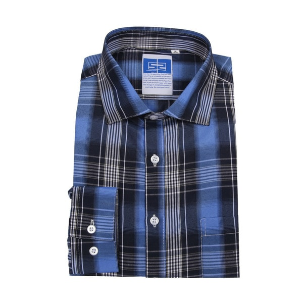 Complicated Shirts Men's Blue and Black Plaid Shirt