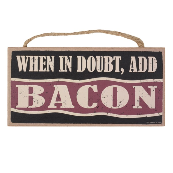 Vintage Wooden Art 'Bacon' Decorative Sign