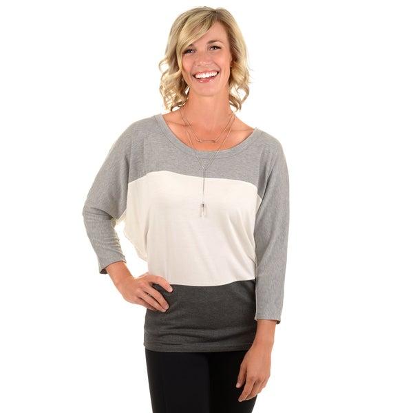Journee Collection Women's Color Blocked Dolman Sleeve Top
