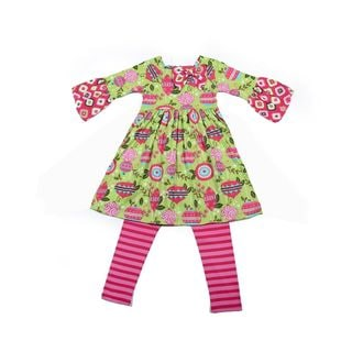 Jelly the Pug Girls' Christmas Day Ashley Knit Dress with Leggings