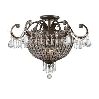 Crystorama Vanderbilt Collection 9-light English Bronze Flush Mount Fixture