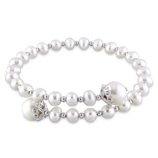 Miadora Sterling Silver Cultured Freshwater White Pearl Flexible Bangle (4.5-5 mm) (8.5-9 mm)