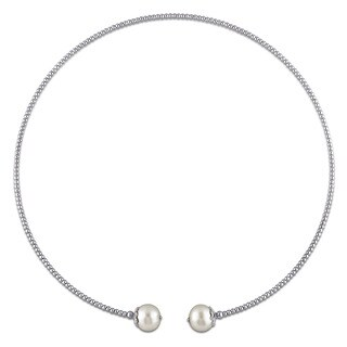 Miadora Sterling Silver Cultured Freshwater White Pearl Chocker Necklace (10-11 mm)