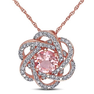 Miadora Signature Collection 10k Rose Gold Morganite and 1/4ct TDW Diamond Flower Necklace (G-H, I1-I2)