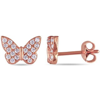 Miadora Rose Plated Sterling Silver Cubic Zirconia Butterfly Stud Earrings