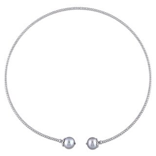 Miadora Sterling Silver Cultured Freshwater Grey Pearl Chocker Necklace (10-11 mm)