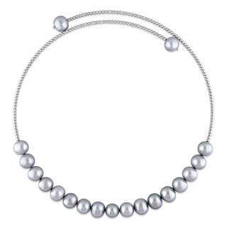 Miadora Sterling Silver Cultured Freshwater Grey Pearl Chocker Necklace (9-10 mm)