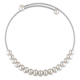 Miadora Sterling Silver Cultured Freshwater White Pearl Chocker Necklace (9-10 mm)