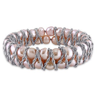 Miadora Sterling Silver Cultured Freshwater Baroque Pink Pearl Double Row Endless Bracelet (7-8 mm)