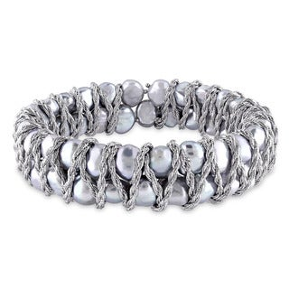 Miadora Sterling Silver Cultured Freshwater Baroque Grey Pearl Double Row Endless Bracelet (7-8 mm)