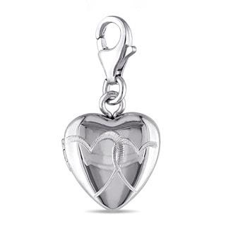 Miadora Sterling Silver Heart Locket Charm