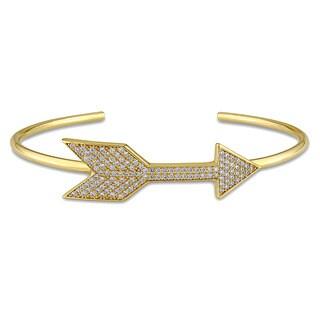 Miadora Yellow Plated Sterling Silver Cubic Zirconia Arrow Bangle Bracelet