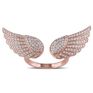 Miadora Rose Plated Sterling Silver Cubic Zirconia Angel Wings Ring