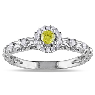 Miadora Sterling Silver 1/4ct TDW Yellow and White Diamond Halo Ring (G-H, I2-I3)