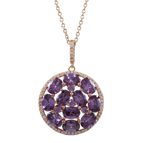 Rose Gold Finish Sterling Silver Purple Cubic Zirconia Circle Pendant Necklace