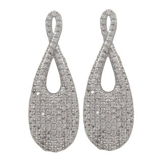 Sterling Silver Pave Cubic Zirconia Infinity Teardrop Earrings