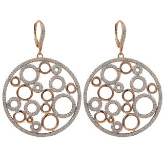 Two-tone Sterling Silver Cubic Zirconia Bubbles Circle Dangle Earrings
