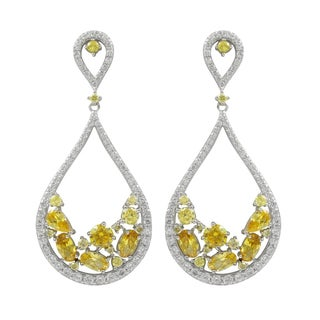 Sterling Silver Yellow and White Cubic Zirconia Teardrop Earrings