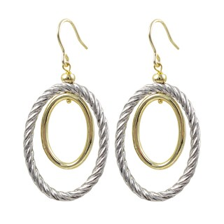 Two-tone Gold Finish Braided Oval Dangle Earrings