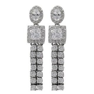 Sterling Silver Cubic Zirconia Geometric Tassel Dangle Earrings