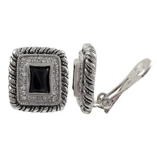 Rhodium Finish Black and White Cubic Zirconia Square Clip-on Earrings