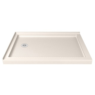 DreamLine SlimLine 36 in. D x 48 in. W Double Threshold Shower Base in Biscuit Color