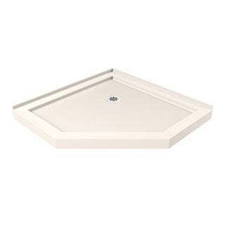 DreamLine SlimLine 36 in. D x 36 in. W Neo-Angle Shower Base in Biscuit Color