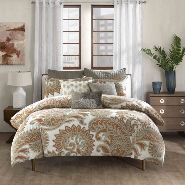 INK+IVY Mira 100% Cotton Paisley Spice Duvet 3 Piece Set