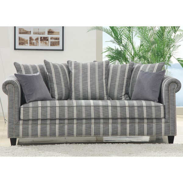 Pewter Bella Grey Stripe Sofa
