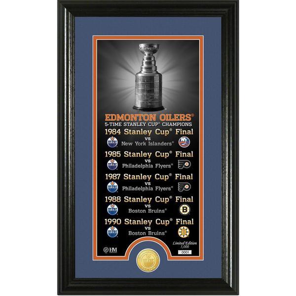 "Edmonton Oilers ""Legacy"" Supreme Bronze Coin Panoramic Photo Mint 16655024"