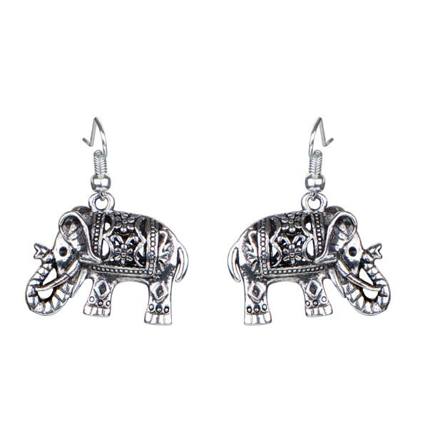 Silver Vintage Filigree Elephant Dangle Earrings