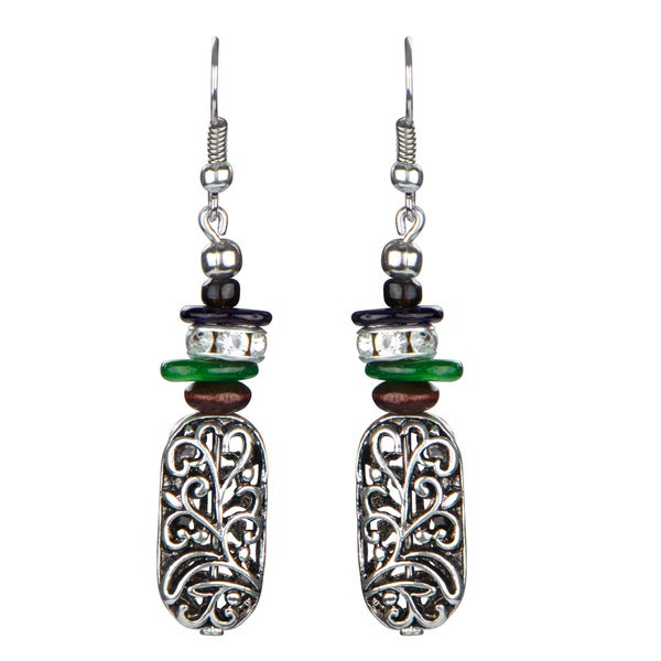 Silver Tribal Filigree Dangle Earrings