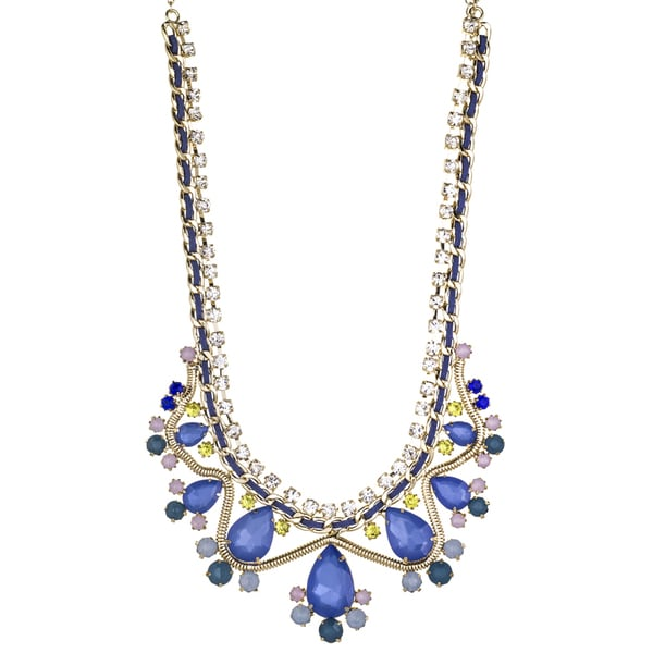 Blue Multicolor Crystal Statement Bib Necklace