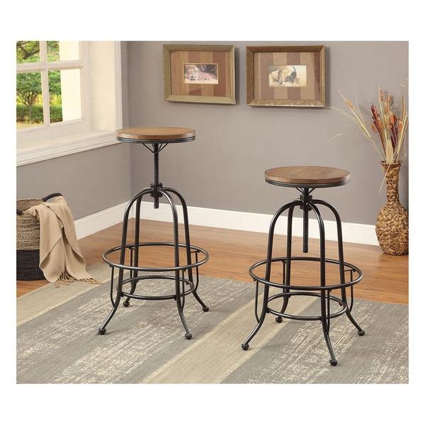 Furniture Of America Daimon Industrial Height Adjustable Bar Stool Set 2 17838137