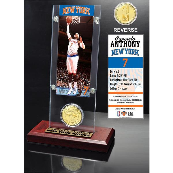 Carmelo Anthony Ticket & Bronze Coin Acrylic Desk Top 16655344